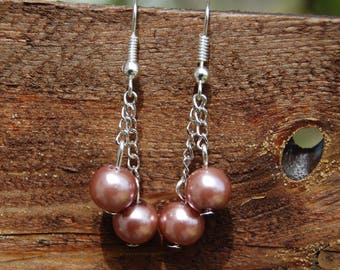 Brown Pearl glass beads earrings