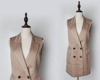 Beige Women Vintage Vest I Pocket Style I 1980s I Sleeveless I Size M