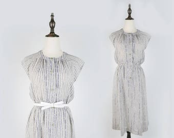 Striped Round Collar Sleeveless Grey Vintage Women Dress Size M