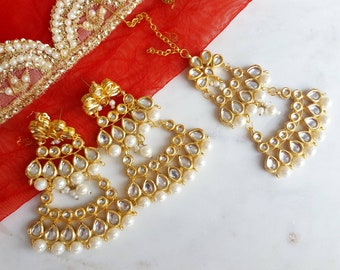 White and Gold Kundan Indian Jewelry Set with Large Earrings and Red Kundan Passa - Indian Wedding Jewelry, Indian Nose Ring, Nath, Kundan