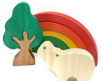 Rainbow set of tree wood and hippo