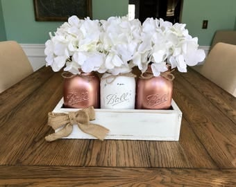 Blush Rose Gold table Decor - Metallic Mason jar decor - Rose Gold Decor - Mason jar table decor- mason jar centerpiece - Rustic Home Decor