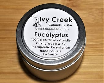Eucalyptus Candle, Eucalyptus Wood Wick Candle, Eucalyptus, Wood Wick Candle, Metal Tin Candle, Gifts for Her, Candle, Eucalyptus, Candle