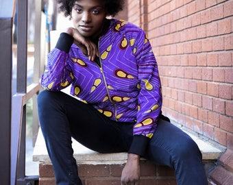 African Bomber Jacket - Jaineba Jacket - Colourful Jacket - African Clothing - Kente Bomber - Festival Clothing - Festival Jacket - Wax Shir