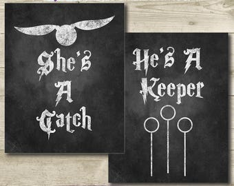 Harry Potter Wedding Chalkboard Sign // He's a Keeper She's a Catch // Printable // 8x10 // Harry Potter Bridal Shower // Quidditch Sign