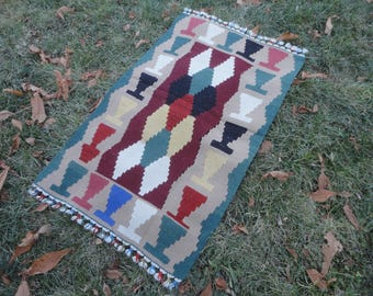 Kilim rug,doormat ,bathroom rug,FREE SHIPPING !!! 41 x 25 decorative small rug,christmas gift rug ,wall rug,hand made kilim rug,thin rug