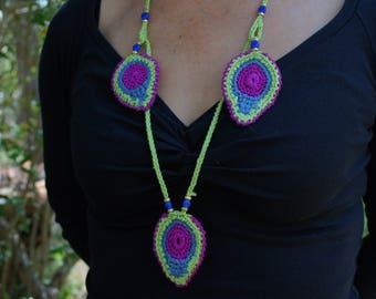green blue pink adjustable crochet necklace