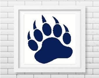 Paw print silhouette cross stitch pattern in pdf