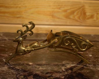 Vintage Brass Reindeer with Sleigh