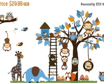 Limited Time Sale Jungle Decals, Jungle Wall Decals, Jungle Stickers, Jungle Animal Decals, Nursery Decal Sticker, Room Decal Sticker