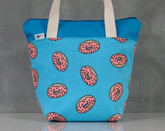 20% OFF [ Orig. 19.99 ]  Doughnut Lunch bag, Waterproof tote, Canvas Lunch bag, Reusable Lunch bag, Handmade bag, Tote, Gift