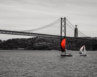 25 de Abril Bridge - Lisbon Bridge  - Black and White - Red - Neutral Decor - Stylish - Fine Art Photography  - Red Sails Landscape - 0109