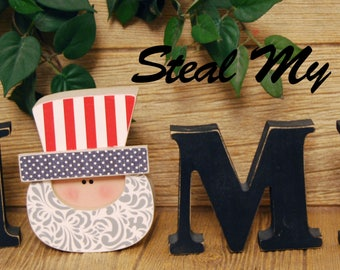 """Uncle Sam: DIY Unfinished Fourth of July Letter Decoration """"O"""" Insert ONLY - Craft for """"Home"""", """"Love"""" and """"Welcome"""" Letter Set"""