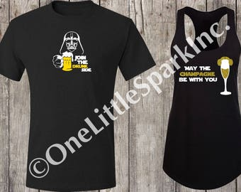 Epcot food and wine shirt / disney drinking shirt  disney star wars drinking / star wars couple food and wine darth vader drinking bar tours