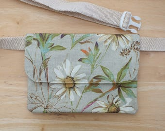 Daisy Belt Bag to fit iPhone plus (or smaller), Hip Purse, Bum Bag, Waist Bag, Money Belt, Flat Fanny Pack or Travel Wallet