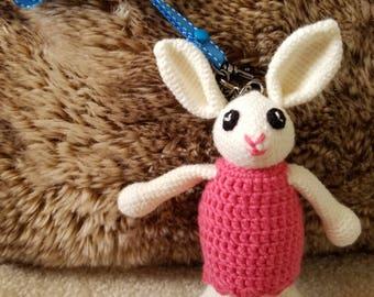 Crochet amigurumi bunny keychain