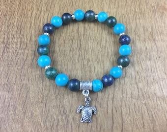 Gemstone Yoga Chakra Stack Bracelet Lapis Chrysocolla Turquoise Turtle 18cm 22
