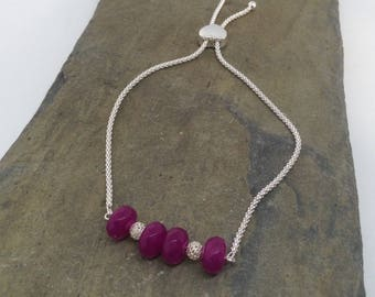A beautiful purple agate and 925 sterling silver slider bracelet.