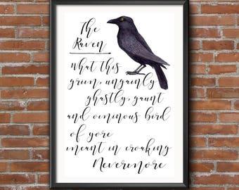 The Raven, Edgar Allen Poe, Quote Print, Typography, Gothic Print, Poster Art, Digital Art, Raven, Literature Quote