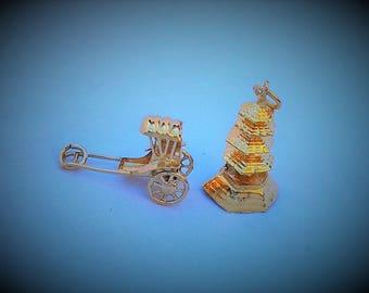 Two Vintage Gold Coloured Charms - Rickshaw and Pagoda