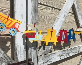 Cars Trucks Trains and Planes One Banner - First Birthday - Boy Birthday - Transportation Banner - Automobiles - On The Move - Vehicle Party