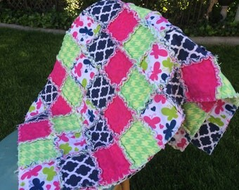 rag quilt, baby quilt, baby rag quilt, butterfly baby blanket, lime baby blanket, pink baby blanket, flannel baby shower gift