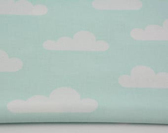 Fabric 100% cotton a half metre 50 x 160 cm, 100% new clouds on white cotton by the yard, fabric,