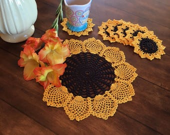 Doily and Coaster Sunflowers - Rustic Doilies - Flower Doilies - Housewarming Gift - Pineapple Doily - Wedding Gift - Crochet Lace Doily