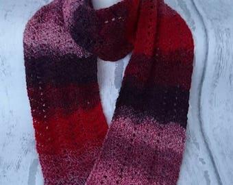 Crochet scarf, Handmade crochet scarf, Chevron scarf, Zig zag scarf, Winter accessories, gift, Red scarf