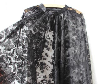 Vintage Cape Victorian Black Lace Floor Length One Size Gothic Wedding Bridal Mourning