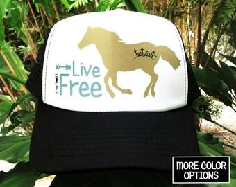 Live Free Running Horse Trucker Hat / mesh, Christian hat, Christian apparel, women's hat, women's trucker hat, Christian trucker hat