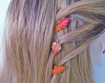 Leaf bobby pins, set of 3 leaves, fall leaves