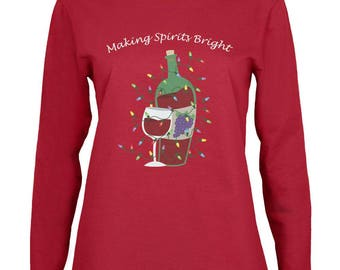 Christmas Making Spirits Bright Red Womens Long Sleeve T-Shirt