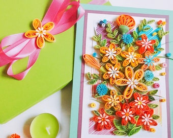 Quilled Creations,Colorful spring flowers,Quilling Birthday Card,Quilling wedding spring,3D quilling card,Quilling greeting card,pretty card