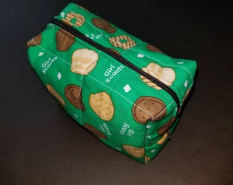 Girl Scout Cookie toiletry/cosmetic/art supply bag