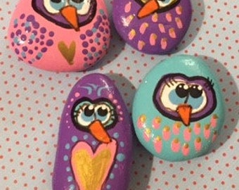 OWL magnets - silly owls - handpainted - fun - pastels