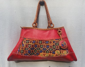 Boho leather and Indian Textile handbag