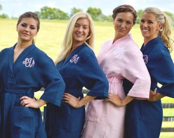 Monogrammed robe, bridesmaid gift robe, wedding party robes, personalized, embroidered, bridal shower gift, waffle weave spa robe, navy pink