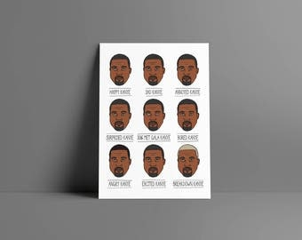 Kanye's emotions • • boy poster & card