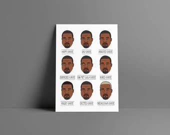 Kanye's emotions • • boy poster & card