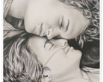 """Double portrait """"Hazel and Augustus"""" in our stars opposites"""