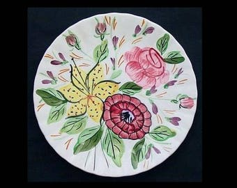 "Ridge Plate 8.25"" Hand Painted TIGER LILY Salad Southern Potteries Colonial Shape Pink Rose Yellow Flower Dinnerware (B25) 7925"