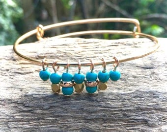 Rose gold tone bangle with turquoise, RG & gold beads, expandable, stackable, on trend, boho festival style, birthday gift, special occasion