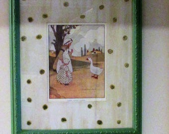 """Vintage Blanche Fisher Wright """"Goosey, Goosey, Gander"""" Print Litho"""