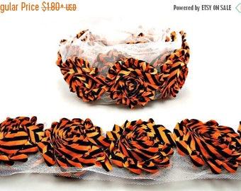 30% OFF HALLOWEEN CHIFFON / Black And Orange Stripes / 1 Yard Shabby Flower Trim / Chiffon Rosettes / Headband Flower / Wholesale Fraying Ro
