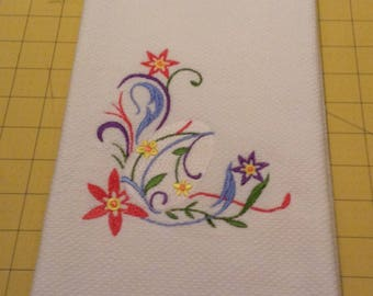 EASTER: Colorful Easter Egg Flourish Williams Sonoma Embroidered Kitchen Hand Towel 100% cotton, 20 x 30