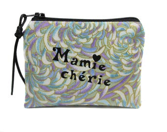 gift grandmother wallet purse in flowered fabric