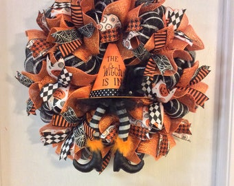Halloween Wreath- Witch is In Wreath-Witch Halloween Mesh Wreath-Mesh Wreath-Wreath