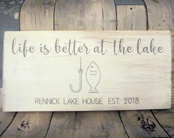 Custom Lake House Signs - Lake House Sign - Personalized Lake House Sign - Lake House Decor - Established  Sign - Housewarming Gift