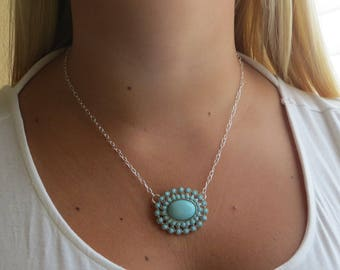 """Silver-Filled Necklace with Large Turquoise Flower, 18"""", SN-219"""
